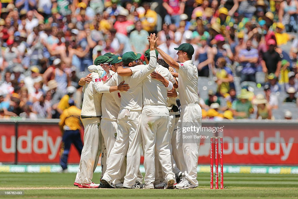 The Australians celebrate after winning the match during day three of the Second Test match between Australia and Sri Lanka at Melbourne Cricket Ground on December 28, 2012 in Melbourne, Australia.