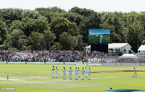 The Australians form a guard of honor as Brendon McCullum of New Zealand walks out to bat in his final test match during day one of the Test match...