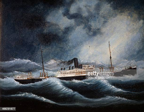 The Austria steamship of the Lloyd company during a storm oil on canvas 20th century
