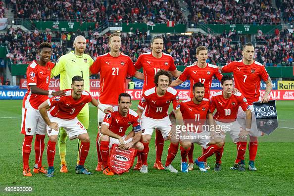 The Austria team lines up for photographers prior to the UEFA EURO 2016 Qualifier between Austria and Liechtenstein at Ernst Happel Stadion on...