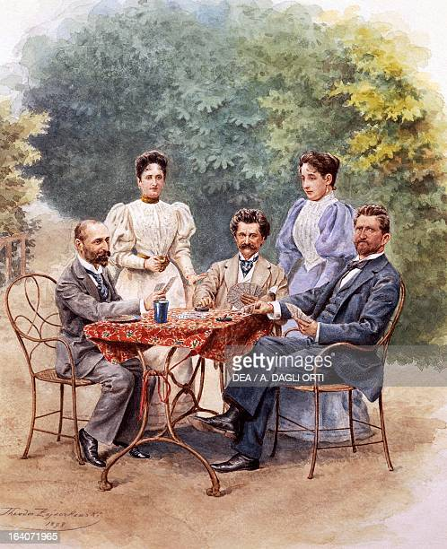 The Austrian composer Johann Strauss surrounded by his family in the garden of his home in Vienna Watercolour Vienna Historisches Museum Der Stadt...