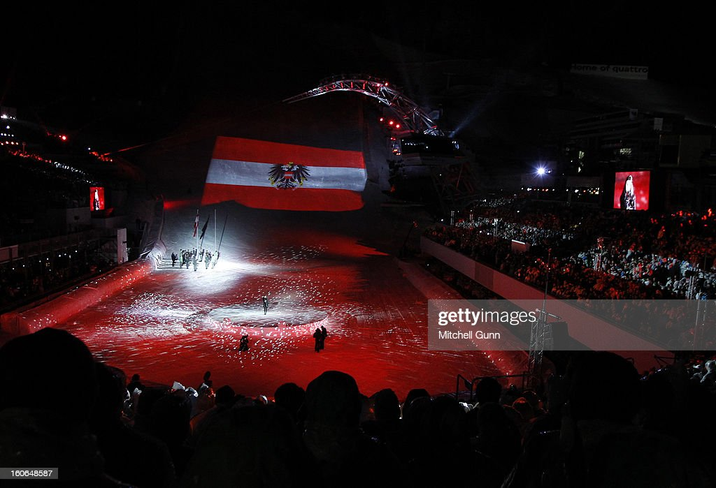 The Austrian flag is projected on the race hill during the opening ceremony for the Alpine FIS Ski World Championships on February 04, 2013 in Schladming, Austria,