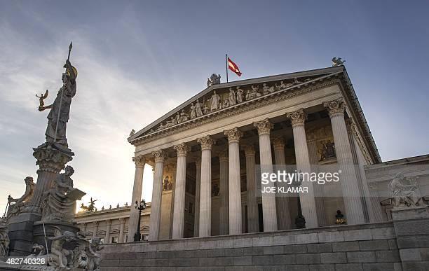STURDEE The Austrian Parliament Building designed by Danish architect Theophil Hansen is pictured in Vienna Austria on February 3 2015 Vienna's...