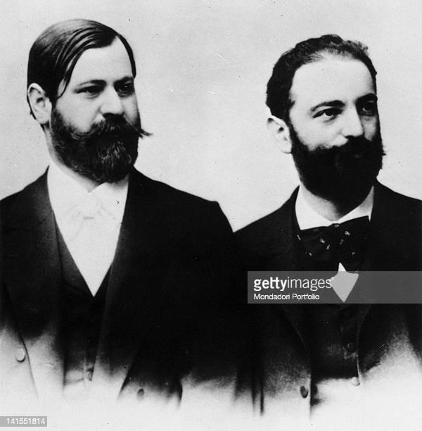 The Austrian psychoanalyst Sigmund Freud posing next to the German otorhinolaryngologist Wilhelm Fliess 1890s