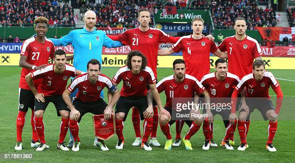The Austrian team pose for a team photograph during the international friendly match between Austria and Albania at the ErnstHappelStadion on March...