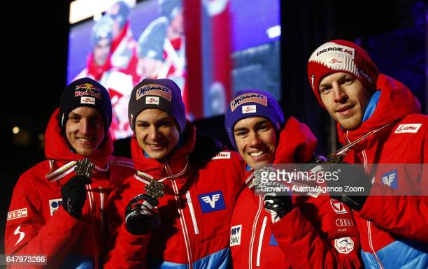 The Austrian team wins the gold medal after the FIS Nordic World Ski Championships Men's Team Ski Jumping HS130 on March 4 2017 in Lahti Finland