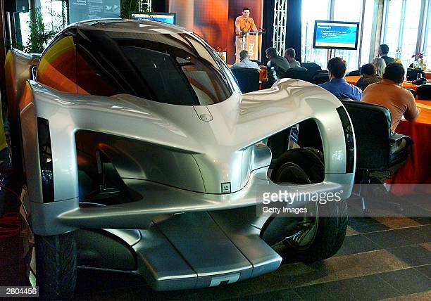 The AUTOnomy a General Motors concept car that is customizable and runs on hydrogen is seen during a General Motors Technology Tour gathering in New...