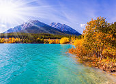 Rocky Mountains of Canada, autumn flood of artificial Abraham lake. The golden foliage of aspen and birches. Autumn sun warms the mountain valley. Concept of active and photo tourism
