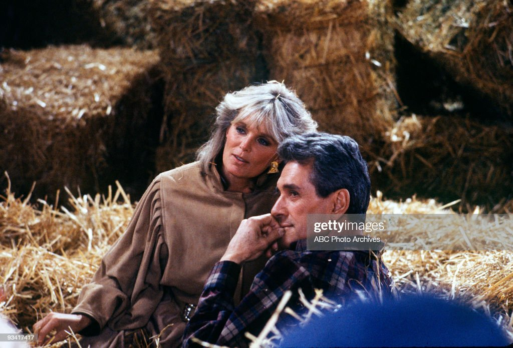 DYNASTY - 'The Avenger' - Season Five - 1/2/85, Krystle (Linda Evans) reconciled with Daniel (Rock Hudson, in his last role) after he revealed an amicable break-up with Iris.,