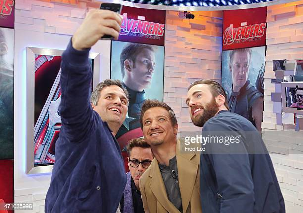 AMERICA The Avengers take over Times Square with Robert Downey Jr Mark Ruffalo Jeremy Renner and Chris Evans on 'Good Morning America' 4/23/15 airing...