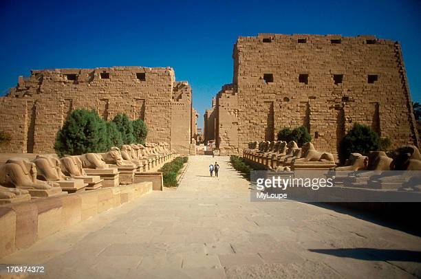 The avenue of sphinxes leading to the western facing pylon entrance The Temple of Karnak at Luxor Thebes Egypt