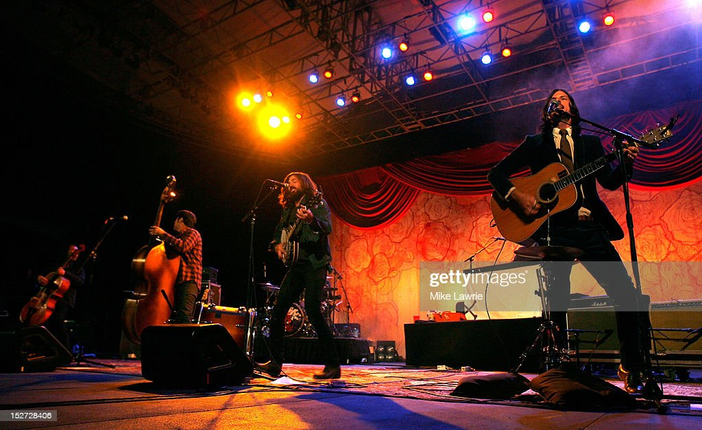 The Avett Brothers performs at SummerStage at Rumsey Playfield, Central Park on September 24, 2012 in New York City.