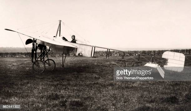 The aviation pioneer Bentfield Charles Hucks at the controls of his specially constructued Bleriot looping monoplane at Sophia Gardens in Cardiff on...