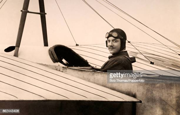 The aviation pioneer Bentfield Charles Hucks at the controls of his specially constructued Bleriot looping monoplane at Hendon circa 1914 RFC Captain...