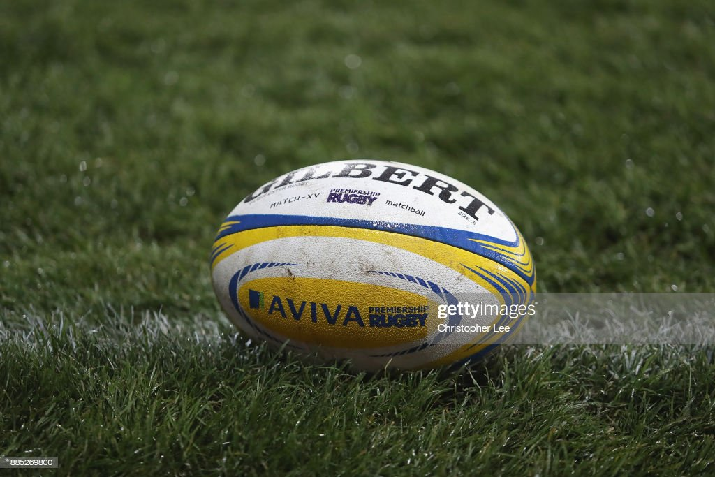 The AVIVA Branded rugby ball during the Aviva Premiership match between Gloucester Rugby and London Irish at Kingsholm Stadium on December 2, 2017 in Gloucester, England.
