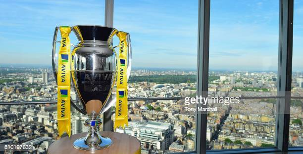 The Aviva Premiership Rugby Trophy during the Premiership Rugby Fixture Launch 20172018 at BT Tower on July 7 2017 in London England