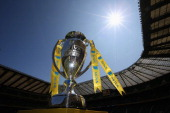 The Aviva Premiership Trophy is displayed before the Aviva Premiership Final between Saracens and Northampton Saints at Twickenham Stadium on May 31...