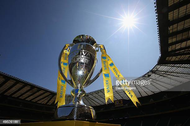 The Aviva Premiership Trophy is displayed before the Aviva Premiership Final between Saracens and Northampton Saints at Twickenham Stadium on May 31...