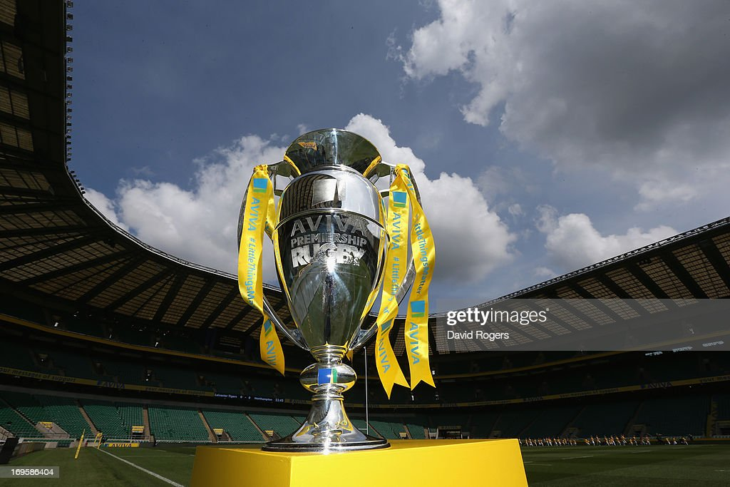 The Aviva Premiership Trophy is displayed on a plinth before the Aviva Premiership Final between Leicester Tigers and Northampton Saints at Twickenham Stadium on May 25, 2013 in London, England.