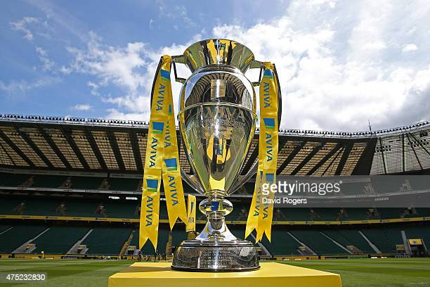 The Aviva Premiership trophy is displayed prior to kickoff during the Aviva Premiership Final between Bath Rugby and Saracens at Twickenham Stadium...