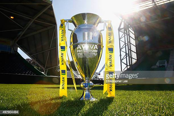 The Aviva Premiership Trophy is pictured during the Aviva Premiership Season Launch at Twickenham Stoop on October 8 2015 in London England