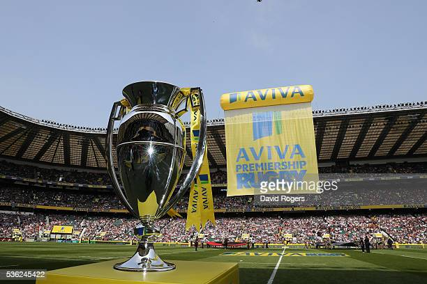 The Aviva Premiership Trophy stands on a plinth before the Aviva Premiership final match between Saracens and Exeter Chiefs at Twickenham Stadium on...