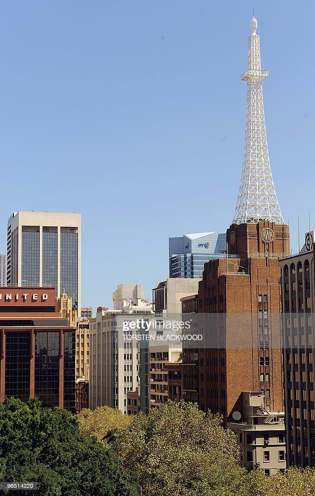 The AWA tower, completed in 1939, looms over Wynyard Park in Sydney on February 9, 2010. For over 20 years the AWA building with its distinctive white steel tower was the tallest structure in Sydney. Its skyscraper appearance was a radical change for the streetscapes of 1930s Sydney. AFP PHOTO / Torsten BLACKWOOD