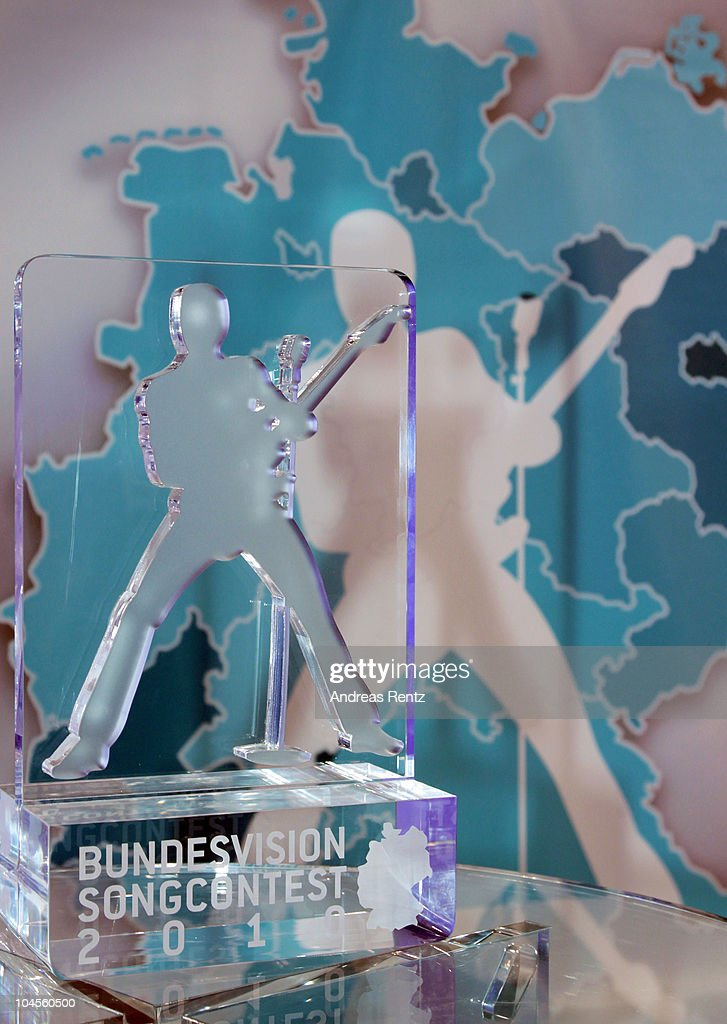 The award is pictured during a press conference to promote the 'Bundesvision Song Contest 2010' at the Max-Schmeling Hall on September 30, 2010 in Berlin, Germany.