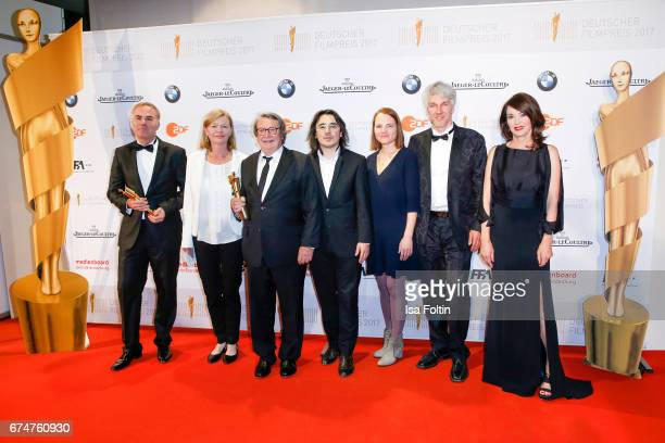 The award winners best documentary film with german actress Iris Berben at the Lola German Film Award winners board at Messe Berlin on April 28 2017...