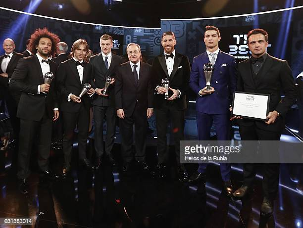 The awardees of the FIFA FIFPro World11 award Real Madrid and Croatia's midfielder Luka Modric Real Madrid and Brazil's defender Marcelo and Real...
