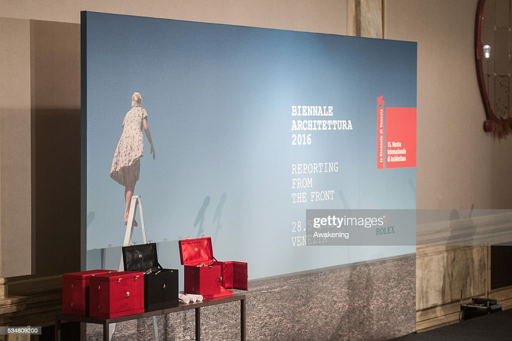 The awards and the official poster of the 15th Biennale of Architecture are seen at the official opening ceremony on May 28, 2016 in Venice, Italy. The 15th International Architecture Exhibition of La Biennale di Venezia will be open to the public from May 28 to November 27 in Venice, Italy.