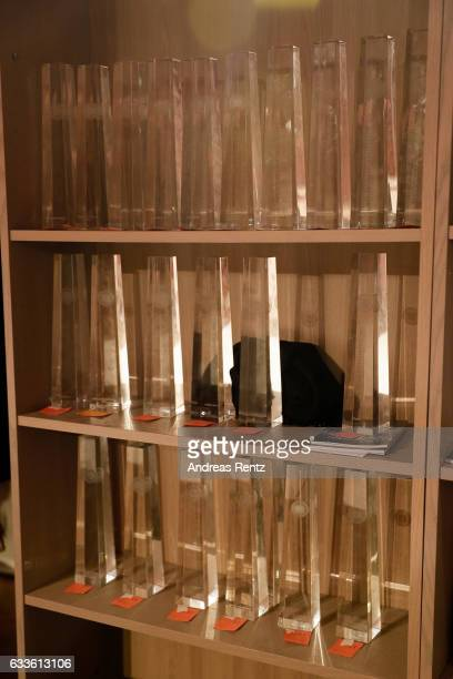 The awards are seen on a display during the German Television Award at Rheinterrasse on February 2 2017 in Duesseldorf Germany
