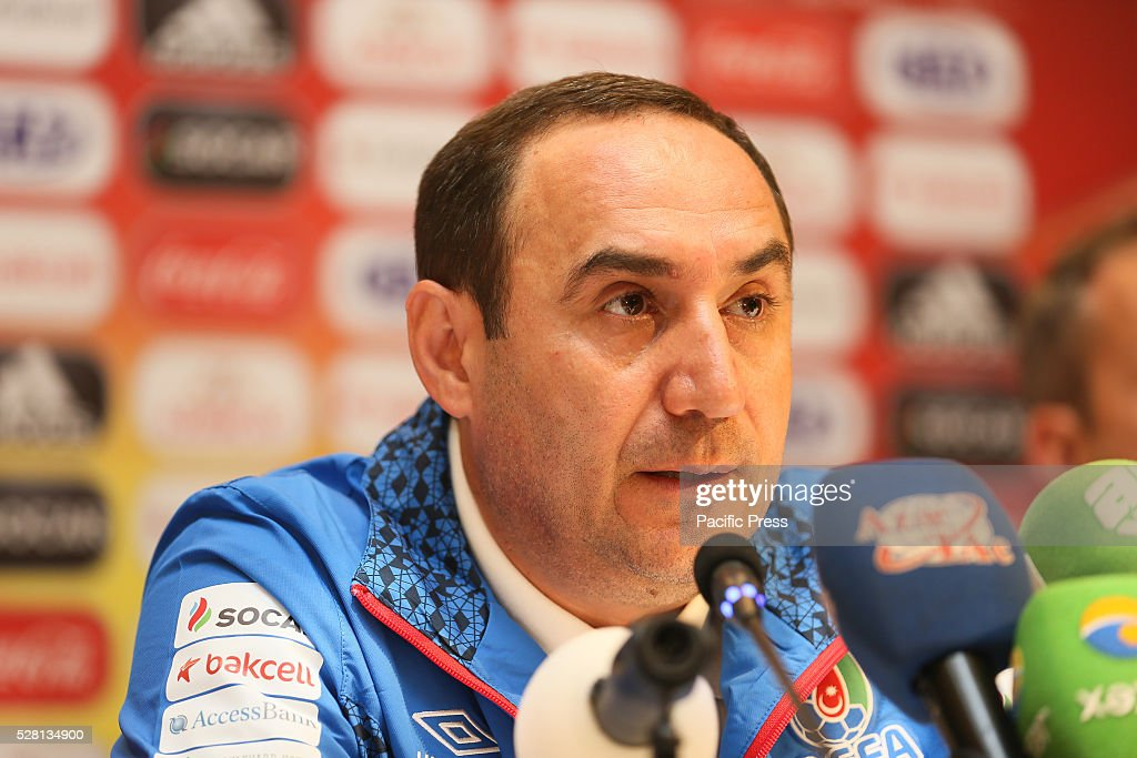 The Azerbaijan Coach Tabriz Hasanov talks to the media during a UEFA European Under-17 Championship in Azerbaijan press conference at the Boulevard Hotel.