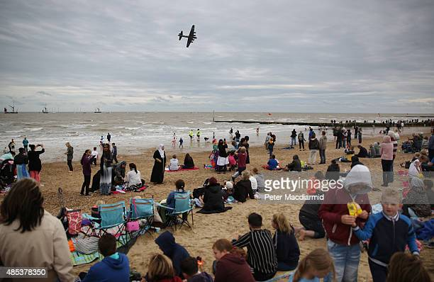 The B17 Flying Fortress 'Sally B' takes part in the Clacton Airshow on August 27 2015 in ClactononSea England This is the first public air display to...