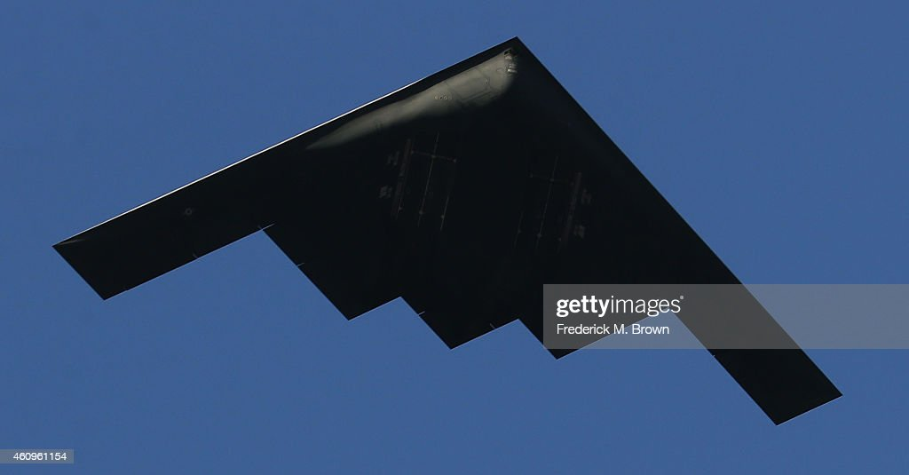The B2 Spirit flies over the parade route during the 126th Rose Parade Presented by Honda on January 1 2015 in Pasadena California