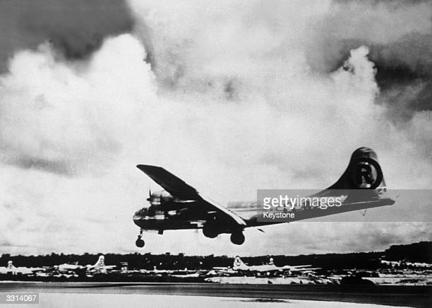 The B29 bomber 'Enola Gay' in Japan after bombing Hiroshima