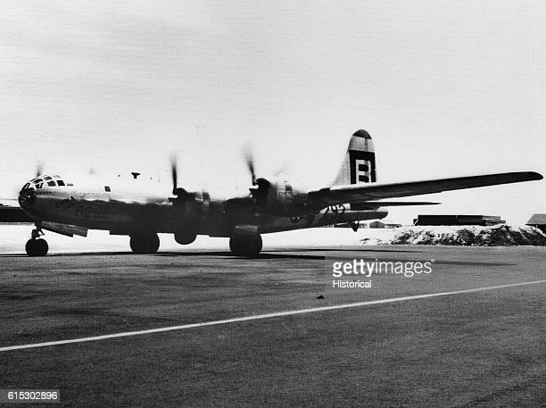 The B29 Enola Gay begins its taxi down the airstrip on Tinian atoll on its way to Hiroshima Japan on August 6 1945 The plane piloted by Colonel Paul...