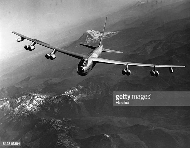 The B52A Stratofortress was a longrange heavy bomber used extensively by the United States military Ca 1950s