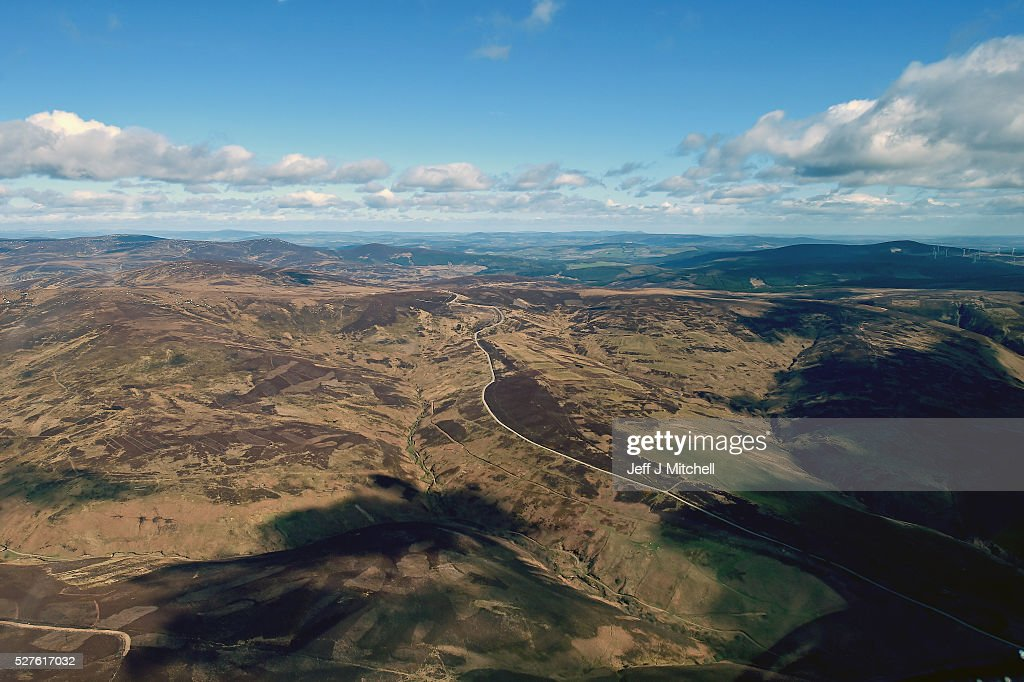 The B974 Banchory to Fettercairn Cairn o' Mount road is seen from the window as Scottish Conservative leader Ruth Davidson travels in a helicopter during a coast-to-coast tour as campaigning continues for the Holyrood election on May 3, 2016 in Banchory, United Kingdom. As campaigning for the Holyrood election enters its last forty eight hours, recent polls suggest the Conservatives are virtually neck-and-neck with Labour in the race to be the main opposition party in Scotland.