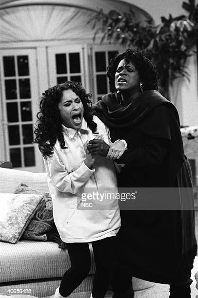 AIR 'The Baby Comes Out' Episode 20 Pictured Karyn Parsons as Hilary Banks Janet Hubert as Vivian Banks Photo by Ron Tom/NBCU Photo Bank