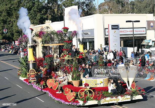 The Bachelor float is displayed on the parade route during the 126th Rose Parade Presented by Honda on January 1 2015 in Pasadena California