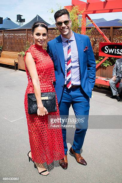 The Bachelor Sam Wood and Snezana Markoski during the Melbourne Cup Carnival at Flemington Racecourse on November 3 2015 in Melbourne Australia Chris...