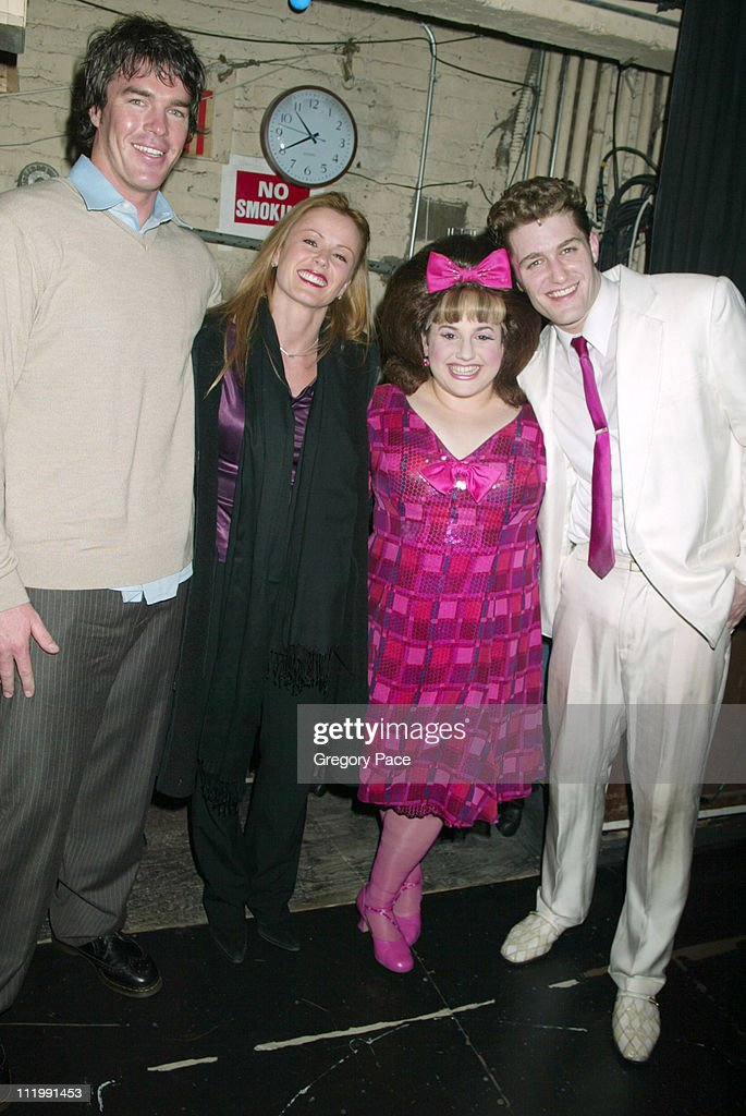 'The Bachelorette's' Ryan Sutter and Trista Rehn with stars of the show 'Hairspray' Melissa JaretWinokur and Matthew Morrison after the show...