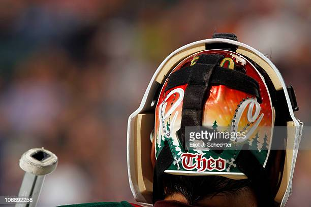 The back artwork of Goaltender Jose Theodore of the Minnesota Wild helmet against the Florida Panthers at the BankAtlantic Center on November 12 2010...