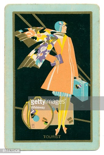 Art deco playing card back design tourist lady 1927