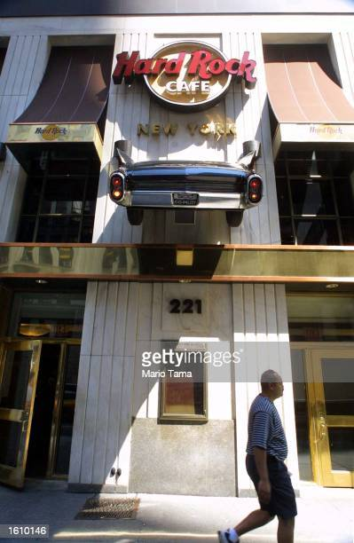 The back half of a vintage automobile is on display at the Hard Rock Cafe August 22 2001 in New York City