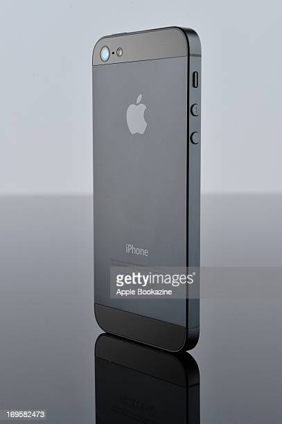 The back of a black Apple iPhone 5 smartphone taken on October 30 2012