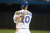 TORONTO ON JULY 25 The back of Josh Donaldson's jersey is dirty after he caught a Padre in a run down as the Toronto Blue Jays play the San Diego...