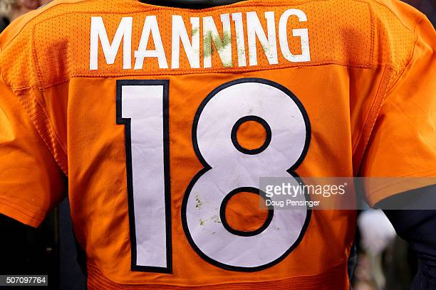 The back of Peyton Manning of the Denver Broncos jersey as he celebrates after defeating the New England Patriots in the AFC Championship game at...