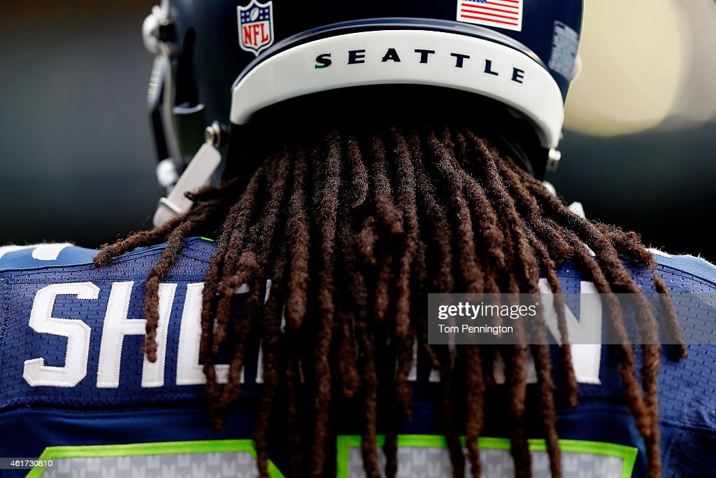 The back of Richard Sherman of the Seattle Seahawks is seen before the 2015 NFC Championship game at CenturyLink Field on January 18 2015 in Seattle...